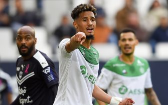 Saint-Etienne's French defender William Saliba gestures during the French L1 football match between Bordeaux and Saint-Etienne (ASSE) on October 20, 2019, at the Matmut Atlantique stadium in Bordeaux, southwestern France. (Photo by NICOLAS TUCAT / AFP) (Photo by NICOLAS TUCAT/AFP via Getty Images)