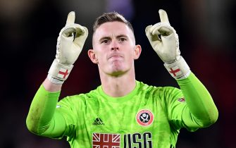 SHEFFIELD, ENGLAND - OCTOBER 21:   Dean Henderson of Sheffield United celebrates after his teams victory in the Premier League match between Sheffield United and Arsenal FC at Bramall Lane on October 21, 2019 in Sheffield, United Kingdom. (Photo by Laurence Griffiths/Getty Images)
