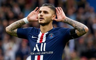 PARIS, FRANCE - OCTOBER 05: Mauro Icardi of Paris Saint-Germain celebrates after scoring his team's second goal during the Ligue 1 match between Paris Saint-Germain and Angers SCO at Parc des Princes on October 05, 2019 in Paris, France. (Photo by Quality Sport Images/Getty Images)