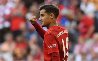 Bayern Munich's Brazilian midfielder Philippe Coutinho celebrates after scoring a penalty during the German First division Bundesliga football match between FC Bayern Munich and 1 FC Cologne in Munich, on September 21, 2019. (Photo by Christof STACHE / AFP) / DFL REGULATIONS PROHIBIT ANY USE OF PHOTOGRAPHS AS IMAGE SEQUENCES AND/OR QUASI-VIDEO        (Photo credit should read CHRISTOF STACHE/AFP via Getty Images)