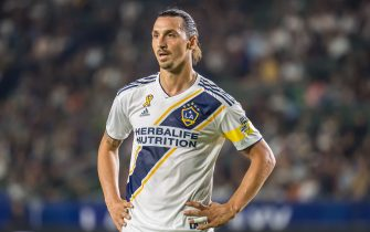 CARSON, CA -SEPTEMBER 15: Zlatan Ibrahimovic #9 of Los Angeles Galaxy during the Los Angeles Galaxy's MLS match against Sporting KC at the Dignity Health Sports Park on September 15, 2019 in Carson, California.  Los Angeles Galaxy won the match 7-2 (Photo by Shaun Clark/Getty Images)