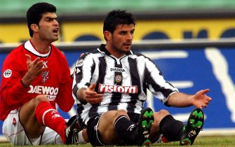3 Feb 2002:  Rahman Rezaei of Perugia and Vincenzo Iaquinta of Udinese in action during the Serie A match between Udinese and Perugia, played at the Friuli Stadium, Udine.   DIGITAL IMAGE Mandatory Credit: Grazia Neri/ALLSPORT