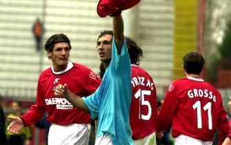 17 Feb 2002:  Fabio Bazzani of Perugia celebrates scoring during the Serie A match between Perugia and Lecce, played at the Reanto Curi Stadium, Perugia.  DIGITAL IMAGE   Mandatory Credit: Grazia Neri/Getty Images