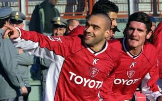 pg-milan fabrizio miccoli festeggia il goal e la convocazione in nazionale