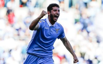 Lazio's Luca Crecco jubilates after scoring the goal of  6-2 during the Italian Serie A soccer match SS Lazio vs US Palermo at Olimpico stadium in Rome, Italy, 23 April 2017. ANSA/ANGELO CARCONI