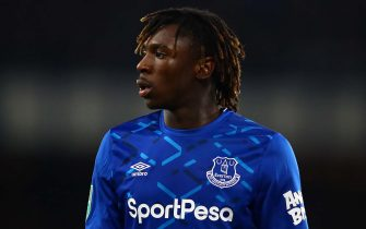 LIVERPOOL, ENGLAND - DECEMBER 18: Moise Kean of Everton looks on during the Carabao Cup Quarter Final match between Everton FC and Leicester FC at Goodison Park on December 18, 2019 in Liverpool, England. (Photo by Chris Brunskill/Fantasista/Getty Images)