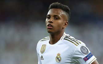 MADRID, SPAIN - NOVEMBER 06: Rodrygo Goes of Real Madrid looks on during the UEFA Champions League group A match between Real Madrid and Galatasaray at Bernabeu on November 06, 2019 in Madrid, Spain. (Photo by Quality Sport Images/Getty Images)