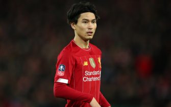 LIVERPOOL, ENGLAND - JANUARY 05: Takumi Minamino of Liverpool  during the FA Cup Third Round match between Liverpool and Everton at Anfield on January 5, 2020 in Liverpool, England. (Photo by Robbie Jay Barratt - AMA/Getty Images)
