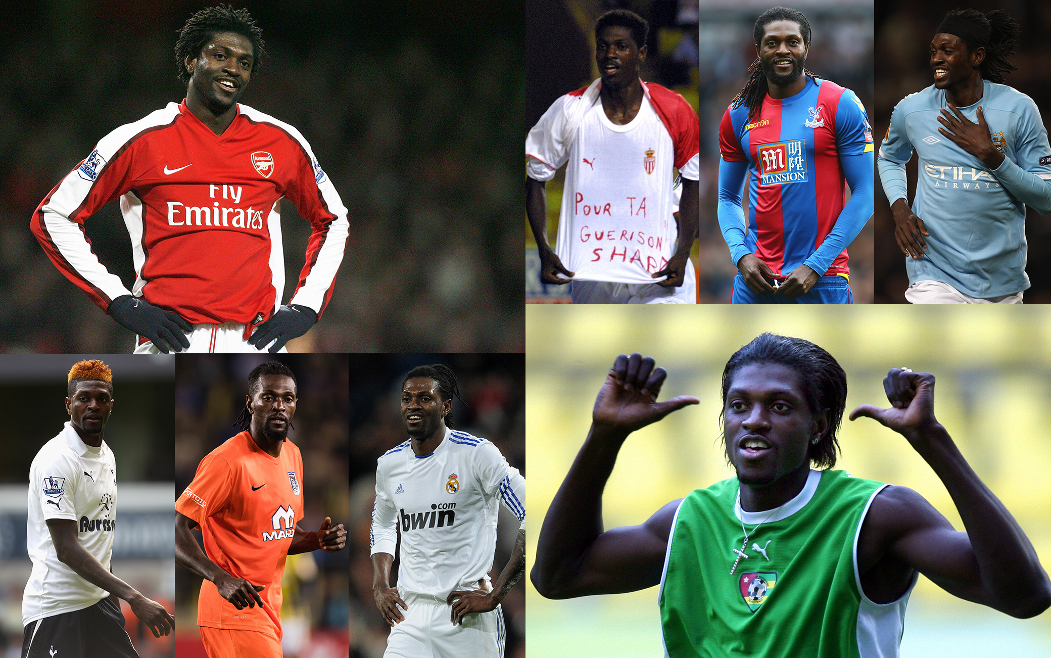 Tante maglie (e gol) nella carriera di Adebayor