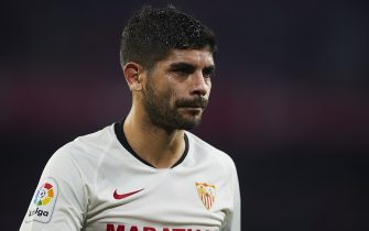 SEVILLE, SPAIN - FEBRUARY 02: Ever Maximiliano Banega of Sevilla FC looks on during the Liga match between Sevilla FC and Deportivo Alaves at Estadio Ramon Sanchez Pizjuan on February 02, 2020 in Seville, Spain. (Photo by Quality Sport Images/Getty Images)