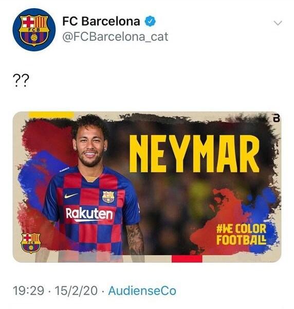 Il tweet pubblicato da un gruppo di hacker sul profilo del Barcellona