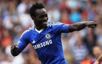 LONDON, ENGLAND - SEPTEMBER 11:  Michael Essien of Chelsea as he scores their first goal during the Barclays Premier League match between West Ham United and Chelsea at the Boleyn Ground on September 11, 2010 in London, England.  (Photo by Hamish Blair/Getty Images)