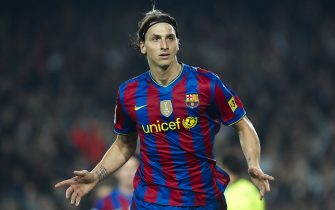 BARCELONA, SPAIN - MARCH 24:  Zlatan Ibrahimovic of FC Barcelona celebrates after scoring during the La Liga match between Barcelona and Osasuna at the Camp Nou Stadium on March 24, 2010 in Barcelona, Spain.  (Photo by Manuel Queimadelos Alonso/Getty Images)