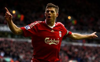 LIVERPOOL, ENGLAND - FEBRUARY 28:  Steven Gerrard of Liverpool celebrates scoring the opening goal during the Barclays Premier League match between Liverpool and Blackburn Rovers at Anfield on February 28, 2010 in Liverpool, England.  (Photo by Clive Brunskill/Getty Images)