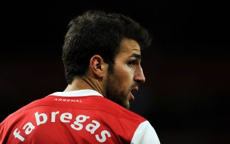 Arsenal's Spanish midfielder Cesc Fabregas looks on against Shakhtar Donetsk during the UEFA Champions League Group H football match at The Emirates Stadium in London on October 19, 2010. Arsenal won the game 5-1. AFP PHOTO / Adrian Dennis (Photo credit should read ADRIAN DENNIS/AFP via Getty Images)