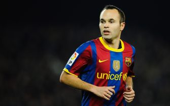 BARCELONA, SPAIN - DECEMBER 12:  Andres Iniesta of Barcelona looks on during the La Liga match between Barcelona and Real Sociedad at Camp Nou Stadium on December 12, 2010 in Barcelona, Spain. Barcelona won the match 5-0.  (Photo by David Ramos/Getty Images)