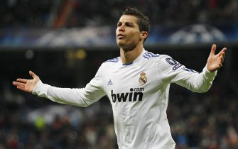 MADRID, SPAIN - DECEMBER 08:  Cristiano Ronaldo of Real Madrid celebrates after scoring Real's second goal during the Champions League group G match between Real Madrid and AJ Auxerre at Estadio Santiago Bernabeu on December 8, 2010 in Madrid, Spain.  (Photo by Angel Martinez/Getty Images)