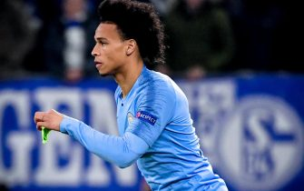 epa07384127 Manchester City's Leroy Sane in action during the UEFA Champions League round of 16 first leg soccer match between FC Schalke 04 and Manchester City in Gelsenkirchen, Germany, 20 February 2019.  EPA/SASCHA STEINBACH