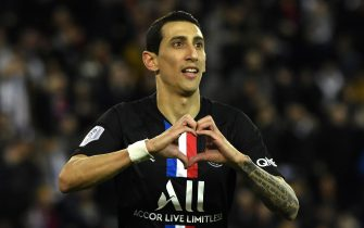 epa08185717 Paris Saint Germain's Angel Di Maria celebrates his goal during the French Ligue 1 soccer match between PSG and Montpellier HSC at the Parc des Princes stadium in Pa?ris, France, 1st February 2020.  EPA/Julien de Rosa