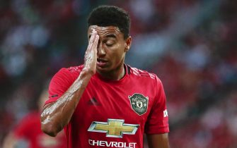 epa07729103 Manchester United's Jesse Lingard reacts during the International Champions Cup soccer match between Manchester United and Inter Milan at the National Stadium in Singapore, 20 July 2019.  EPA/WALLACE WOON