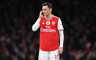 epa08073997 Arsenal's Mesut Ozil reacts during the English Premier league soccer match between Arsenal FC and Manchester City at Emirates stadium in London, Britain, 15 December 2019.  EPA/FACUNDO ARRIZABALAGA EDITORIAL USE ONLY. No use with unauthorized audio, video, data, fixture lists, club/league logos or 'live' services. Online in-match use limited to 120 images, no video emulation. No use in betting, games or single club/league/player publications