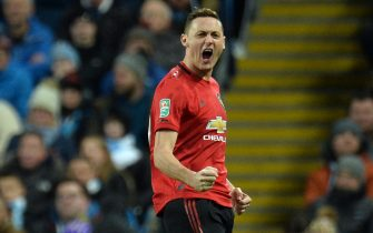 epa08176871 Nemanja Matic of Manchester United celebrates scoring the 1-0 during the Carabao Cup semi final second leg match between Manchester City and Manchester United in Manchester, Britain, 29 January 2020.  EPA/PETER POWELL