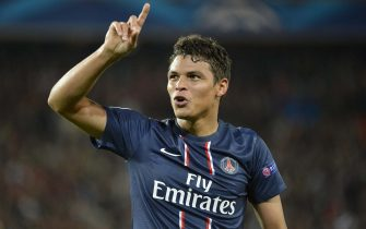 Thiago Silva of PSG celebrates his goal  against Dynamo Kiev during their UEFA Champions League soccer group A at Parc des Princes Stadium in Paris, France, 18 September 2012.