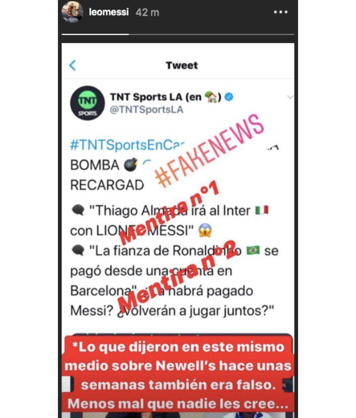 Il messaggio di Messi postato sulle sue Instagram stories