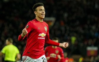 epa08066835 Manchester United's Mason Greenwood celebrates scoring the second goal during the UEFA Europa League group L soccer match between Manchester United and AZ Alkmaar held at Old Trafford in Manchester, Britain, 12 December 2019.  EPA/PETER POWELL .