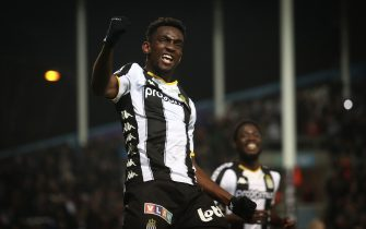 Charleroi's Frank Tsadjout celebrates after scoring during a soccer match between Sporting Charleroi and KV Oostende, Friday 27 December 2019 in Charleroi, on day 21 of the 'Jupiler Pro League' Belgian soccer championship season 2019-2020. BELGA PHOTO VIRGINIE LEFOUR (Photo by VIRGINIE LEFOUR/BELGA MAG/AFP via Getty Images)