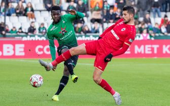 Cercle's Godfred Donsah and Antwerp's Kevin Mirallas fight for the ball during a soccer match between Cercle Brugge KSV and Royal Antwerp FC, Sunday 19 January 2020 in Brugge, on day 22 of the 'Jupiler Pro League' Belgian soccer championship season 2019-2020. BELGA PHOTO KURT DESPLENTER (Photo by KURT DESPLENTER/BELGA MAG/AFP via Getty Images)