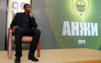 Samuel Eto'o takes part in a press conference for his official presentation after his first training session with the Russian team FC Anji in Makhachkala on September 10, 2011. AFP PHOTO / DMITRY KOSTYUKOV (Photo credit should read DMITRY KOSTYUKOV/AFP via Getty Images)
