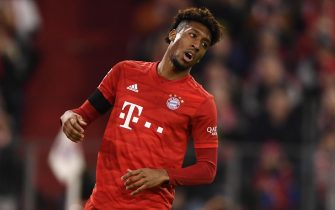 epa08235810 Bayern's Kingsley Coman reacts during the German Bundesliga soccer match between Bayern Munich and SC Paderborn in Munich, Germany, 21 February 2020.  EPA/LUKAS BARTH-TUTTAS CONDITIONS - ATTENTION: The DFL regulations prohibit any use of photographs as image sequences and/or quasi-video.