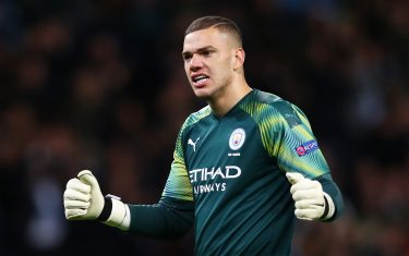 MANCHESTER, ENGLAND - OCTOBER 01: Ederson of Manchester City celebrates following his team's second goal scored by Phil Foden of Manchester City (not pictured) during the UEFA Champions League group C match between Manchester City and Dinamo Zagreb at Etihad Stadium on October 01, 2019 in Manchester, United Kingdom. (Photo by Clive Brunskill/Getty Images)