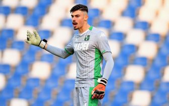 REGGIO NELL'EMILIA, ITALY - DECEMBER 04:  Alessandro Russo of US Sassuolo  gestures during the Coppa Italia match between US Sassuolo and AC Perugia at Mapei Stadium - Città del Tricolore on December 4, 2019 in Reggio nell'Emilia, Italy  (Photo by Alessandro Sabattini/Getty Images)