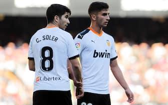 Carlos Soler and Ferran Torres of Valencia CF during the match Valencia CF v SD Eibar, of LaLiga 2019/2019 season, date 19. Mestalla Stadium. Valencia, Spain, 04 Jan 2020.