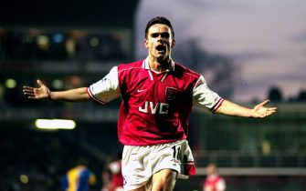10 Jan 1998:  Marc Overmars of Arsenal celebrates a goal during the FA Carling Premiership match against Leeds United at Highbury in London. Arsenal won 2-1. \ Mandatory Credit: Shaun Botterill /Allsport
