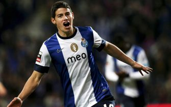 (FILE) A file photo dated 11 November 2012 shows FC Porto's James Rodriguez celebrating after scoring the 1-0 lead against Academica Coimbra during the Portuguese First League soccer match at Dragao stadium in Porto, Portugal. 
