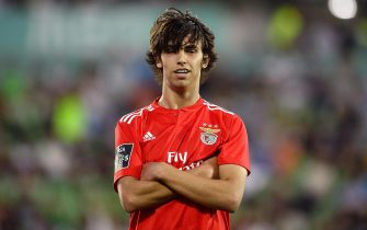 epaselect epa07565742 Benfica's player Joao Felix celebrates a goal during the Portuguese First League soccer match Rio Ave vs Benfica held at Rio Ave Futebol Clube (Arcos) Stadium, in Vila do Conde, Portugal, 12 May 2019.  EPA/FERNANDO VELUDO