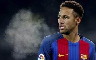 epa05732348 FC Barcelona's Brazilian striker Neymar's during the King's Cup quarter final first leg match between Real Sociedad and FC Barcelona at Anoeta stadium in San Sebastian, Basque Country, Spain, 19 January 2017.  EPA/Juan Herrero
