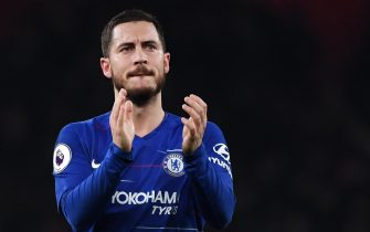 epa07634104 (FILE) - Chelsea's Eden Hazard reacts after the English Premier League soccer match Arsenal vs Chelsea at the Emirates Stadium in London, Britain, 19 January 2019 (reissued on 07 June 2019). Real Madrid announced on 07 June 2019 the signing of Eden Hazard from Chelsea FC. The Belgium's player has signed a contract till the 30th of June 2024.  EPA/ANDY RAIN EDITORIAL USE ONLY. No use with unauthorized audio, video, data, fixture lists, club/league logos or 'live' services. Online in-match use limited to 120 images, no video emulation. No use in betting, games or single club/league/player publications *** Local Caption *** 54914367