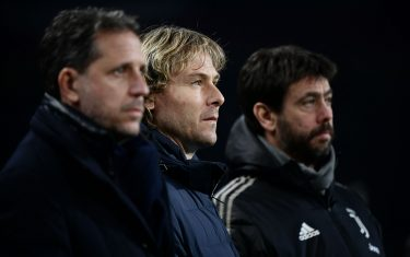 (From L) Juventus FC technical coordinator Fabio Paratici, Juventus FC vice president Pavel Nedved and Juventus FC President Andrea Agnelli attend the Italian Serie A football match Torino vs Juventus on December 15, 2018 at the Olympic stadium in Turin. (Photo by Marco BERTORELLO / AFP)        (Photo credit should read MARCO BERTORELLO/AFP via Getty Images)