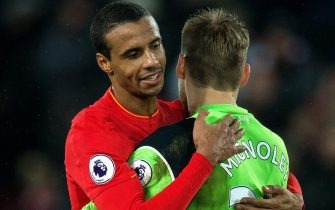 epa05763747 Liverpools Joel Matip (L) and Simon Mignolet (R) react after the match finishes 1-1 after the English Premier League soccer match between Liverpool and Chelsea held at Anfield, Liverpool, Britain, 31 January 2017.  EPA/PETER POWELL EDITORIAL USE ONLY. No use with unauthorized audio, video, data, fixture lists, club/league logos or 'live' services. Online in-match use limited to 75 images, no video emulation. No use in betting, games or single club/league/player publications