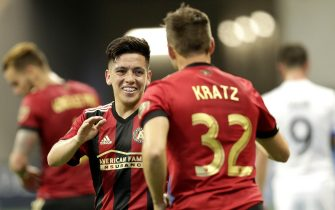 ATLANTA, UNITED STATES - APRIL 28: Ezequiel Barco of Atlanta United celebrates 2-1 with Kevin Kratz of Atlanta United  during the    match between Atlanta United FC v Montreal Impact at the Mercedes-Benz Stadium on April 28, 2018 in Atlanta United States (Photo by Peter Lous/Soccrates/Getty Images)