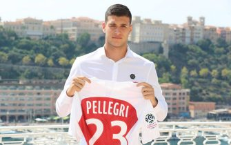 AS Monaco's Italian forward Pietro Pellegri  poses with his jersey during a presentation of the club's new players on August 20, 2018, at the Hotel Hermitage in Monaco. (Photo by VALERY HACHE / AFP)        (Photo credit should read VALERY HACHE/AFP/Getty Images)