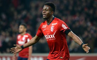 Lille's Belgian forward Divock Origi celebrates after scoring a goal during the French L1 football match between Lille (LOSC) and Rennes (SRFC) on March 15, 2015 at the Pierre Mauroy stadium in Villeneuve-d'Ascq, northern France. AFP PHOTO / DENIS CHARLET        (Photo credit should read DENIS CHARLET/AFP via Getty Images)