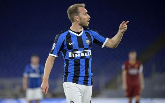 InterÕs Christian Eriksen reacts during the Serie A soccer match between AS Roma and FC Inter at the Olimpico stadium in Rome, Italy, 19 July 2020. ANSA/RICCARDO ANTIMIANI