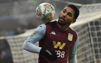 epa08078432 Aston Villa's Douglas Luiz  during the English Carabao Cup quarter-final soccer match between Aston Villa and Liverpool at Villa Park in Birmingham, Britain, 17 December 2019.  EPA/NEIL HALL EDITORIAL USE ONLY. No use with unauthorized audio, video, data, fixture lists, club/league logos or 'live' services. Online in-match use limited to 120 images, no video emulation. No use in betting, games or single club/league/player publications.