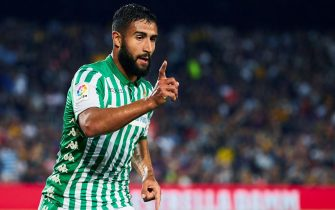 epa07793887 Betis' midfielder Nabil Fekir celebrates after scoring the 0-1 during the Spanish LaLiga match between FC Barcelona and Real Betis at Camp Nou stadium in Barcelona, Catalonia, Spain, 25 August 2019.  EPA/ALEJANDRO GARCIA