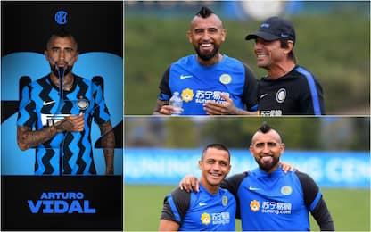 Vidal ritrova Conte, che sorrisi ad Appiano. FOTO